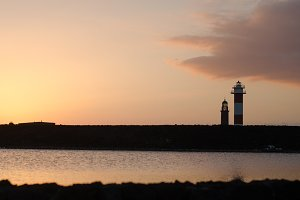 Sunset at the lighthouse Fuencalient