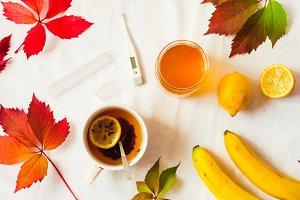 lemon for tea. hot tea. thermometer, honey. health