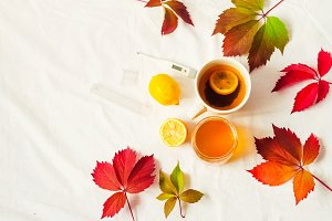 hot drink for warming. lemon and honey. thermometer