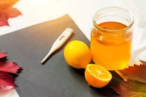 vitamins for health. vitamin C. lemon and honey