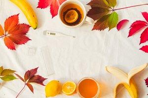 autumn leaves. treatment for influenza. vitamins