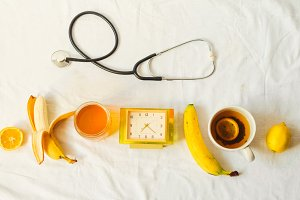 pressure and temperature. treatment of the patient. vitamins for him and hot tea