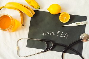 health and medicine. hot tea with lemon and honey. temperature and pressure