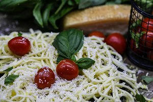 Pasta with Fresh Herbs and Tomatoes
