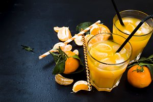 cocktail with tangerines, juice and