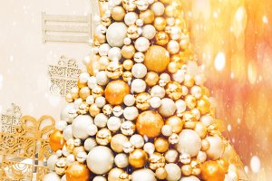 Christmas tree decorated with balls. decor and design of the holiday.