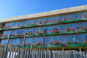 Apartment block with shrub planters