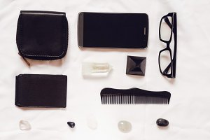 White background. black objects. objects for travel and work