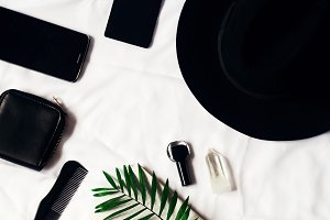view from above. business style in black. White background. phone, business card holder, purse, hat, fern and scallop