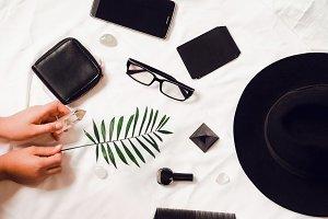 Desktop. hands hold a fern. glasses, phone, hat, wallet and visitor for travel