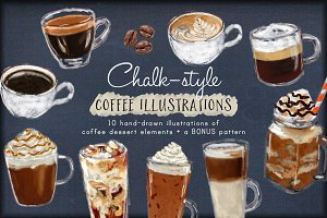 Coffee Drinks and Desserts Clip Art