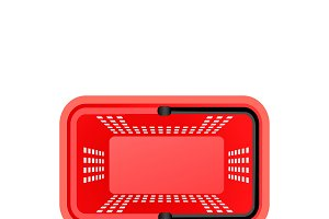 Isolated Supermarket Basket Top View