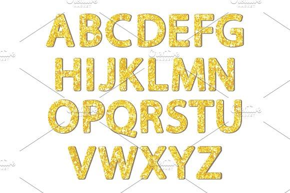 Luxury Festive Golden Glitter Sparkling Alphabet Letters