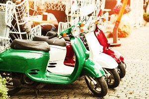travel on scooters. Colors of Italy. three retro scooter