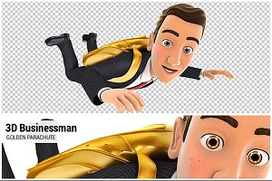 3D Businessman Golden Parachute