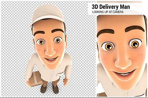 3D Delivery Man Looking Up