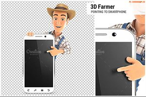3D Farmer Pointing to Smartphone