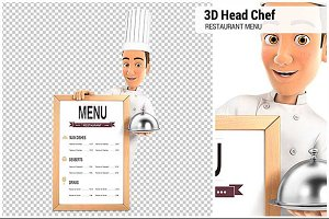 3D Head Chef with Menu