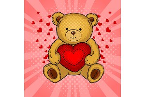 Teddy bear toy with heart pop art vector