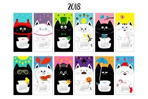 Cat monthly calendar 2018.