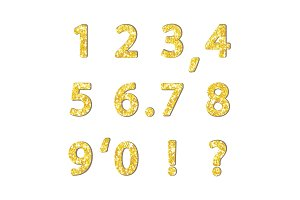 Luxury festive Golden glitter sparkling alphabet numbers