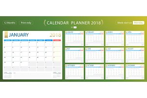 English calendar planner for year 2018, week start Monday. Set of 12 months, corporate design planner template, size printable calendar templates.