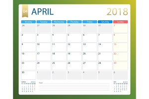APRIL 2018, illustration vector calendar or desk planner, weeks start on Monday