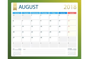 AUGUST 2018, illustration vector calendar or desk planner, weeks start on Monday