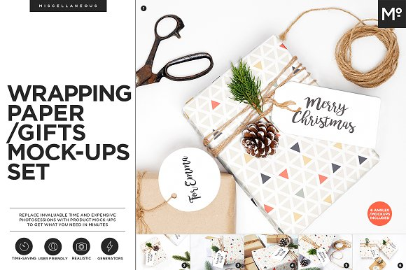 Wrapping Paper/ Gifts Mock-ups Set-Graphicriver中文最全的素材分享平台