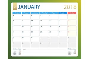 JANUARY 2018, illustration vector calendar or desk planner, weeks start on Monday