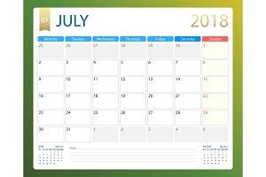 JULY 2018, illustration vector calendar or desk planner, weeks start on Monday