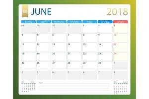 JUNE 2018, illustration vector calendar or desk planner, weeks start on Monday