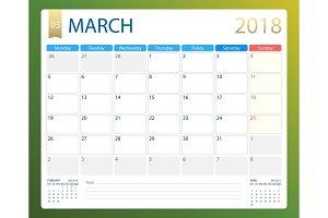 MARCH 2018, illustration vector calendar or desk planner, weeks start on Monday
