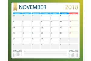 NOVEMBER 2018, illustration vector calendar or desk planner, weeks start on Monday