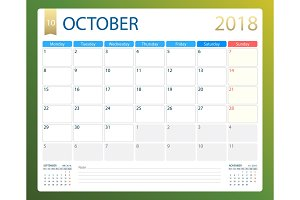 OCTOBER 2018, illustration vector calendar or desk planner, weeks start on Monday