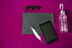 blank sheet of paper. gadget. screen tablet. my bottle