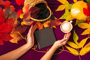 hot coffee. autumn day. foliage is multicolored. tangle of thread. notepad for writing