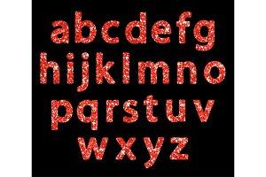 Luxury festive Red glitter sparkling alphabet letters