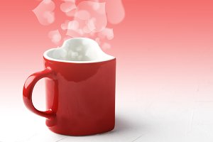 Red mug in shape of heart