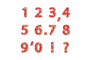 Luxury festive Red glitter sparkling alphabet numbers