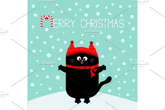 merry christmas cat red hat scarf illustrations - Merry Christmas Cat