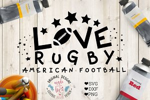Love Rugby American Football SVG