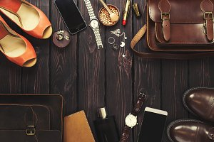 Male and female personal belongings.