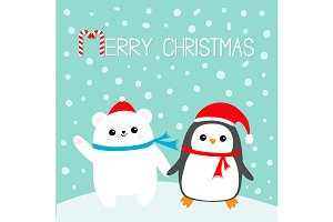 Merry Christmas. Penguin Polar bear