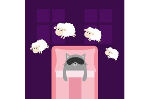 Cute cat Sleeping mask Jumping sheep