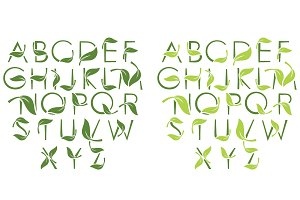 Font set with leaves