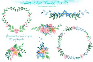 Watercolor Flower Bundle