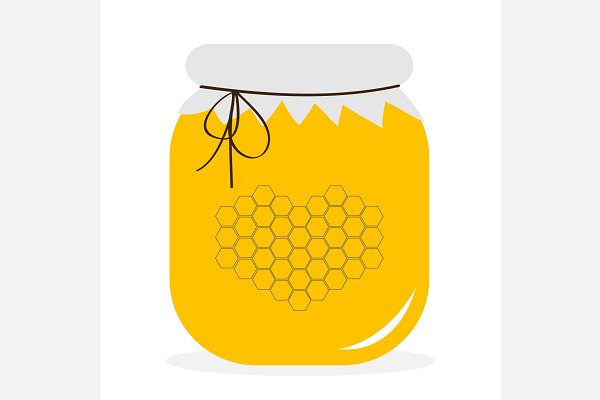 Honey jar pot icon. Flying bees.