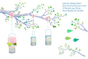Wedding Clipart Birch Branch Tin Can