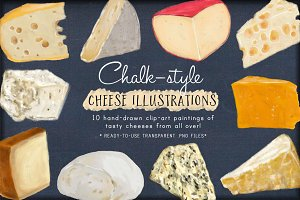 Chalk-style Cheese Illustrations